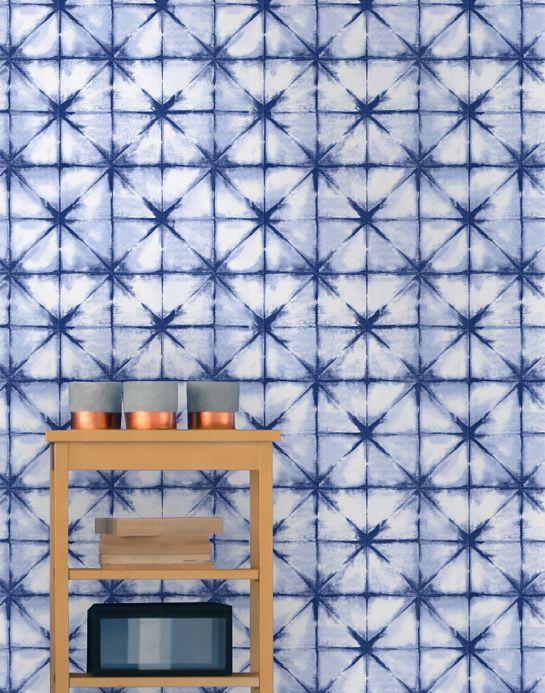 Papier peint géométrique Papier peint Esolan bleu clair Vue pièce