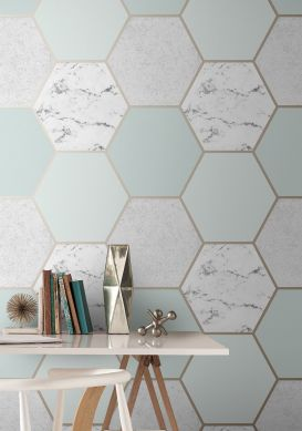 Wallpaper Novara light mint turquoise Room View