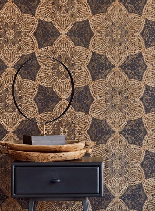 Wallpaper Marrakesh Matt African style Floral damask Black brown Pale brown Grey beige shimmer