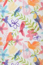 Wallpaper Tilly Matt Leaves Blossoms Birds White Light green Orange Pastel turquoise Rose Violet