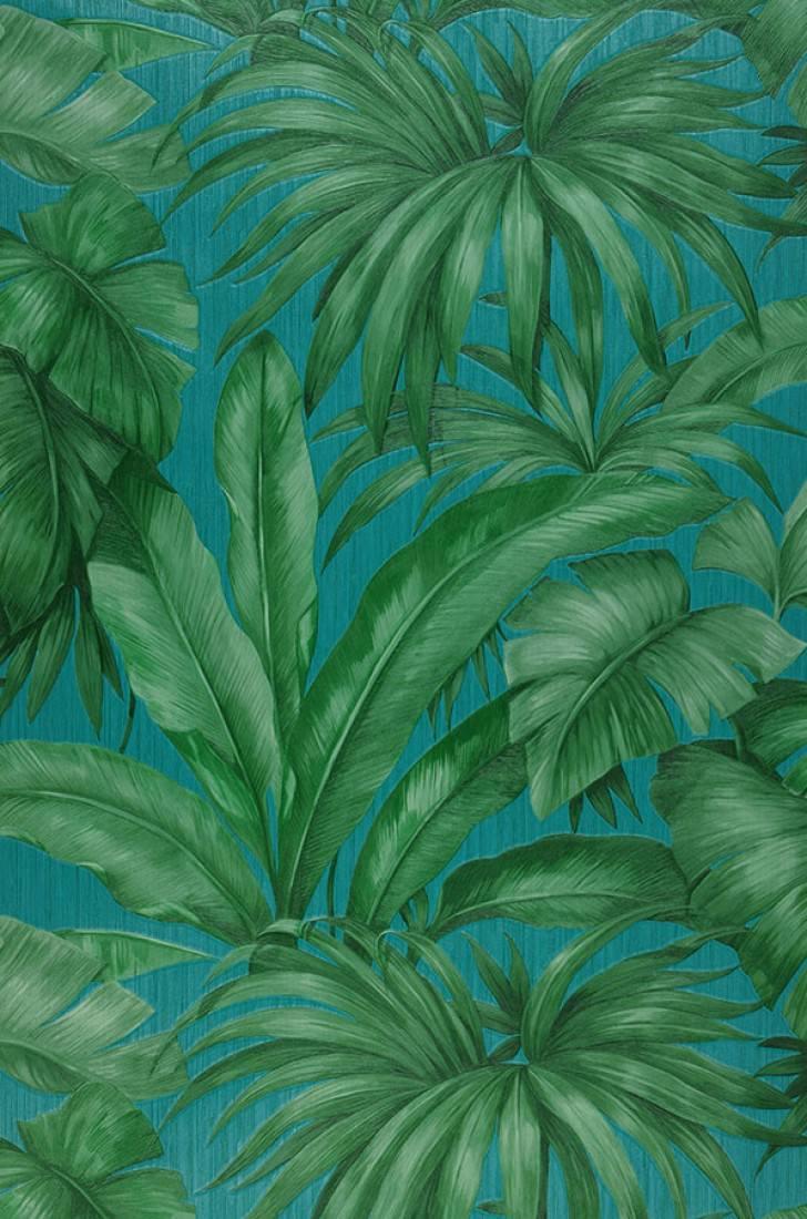 Papier Peint Yasmin Turquoise Tons De Vert Papier