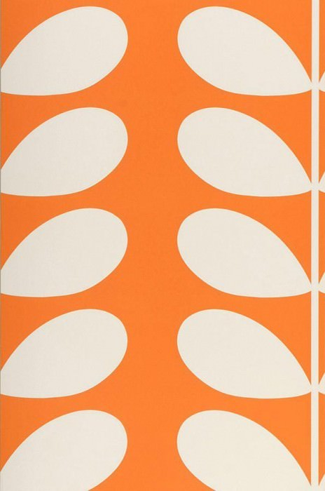 Wallpaper Diana Matt Stylised leaves Orange Cream