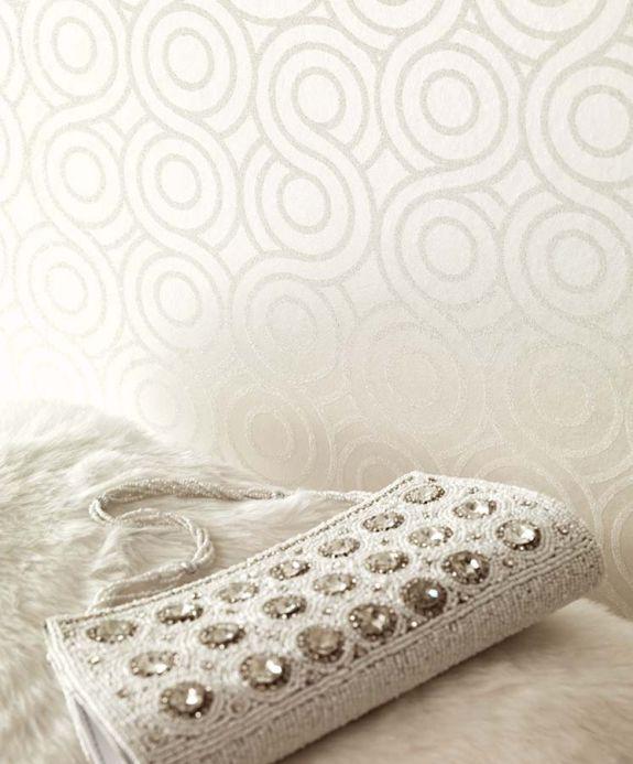 Carta da parati perline di vetro Carta da parati Silvanus bianco crema brillante Visuale camera