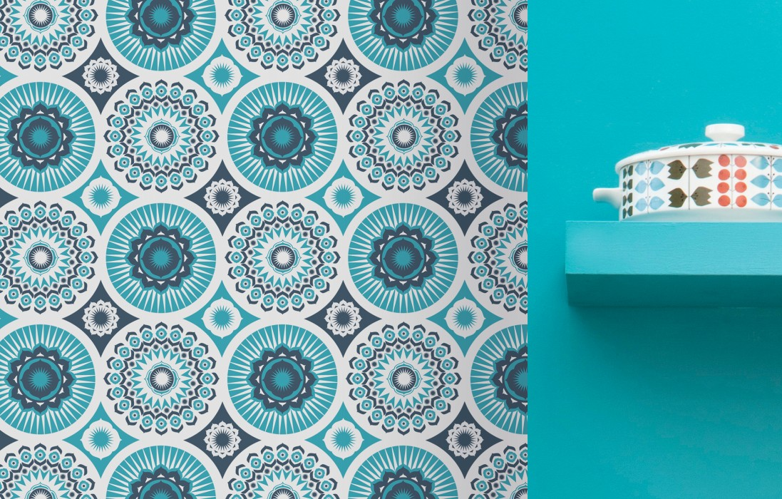 Wallpaper Marelle Matt Stylised blossoms Cream Ocean blue Water blue