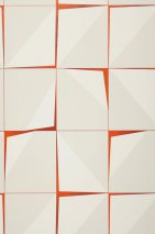 Wallpaper Perseus Matt pattern Shiny base surface Graphic elements Red orange Cream Grey white