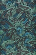 Papel de parede Siskara Mate Folhas estilizadas Flores estilizadas Preto Marrom acinzentado Verde pérola Azul água