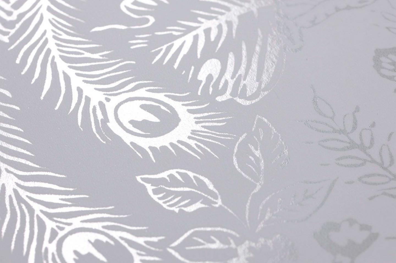 Papel pintado izanuela blanco plata lustre papeles de for Papel pintado en blanco y plata