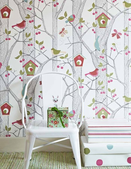 Wallpaper Emma Matt Trees Butterflies Birds Birdhouses White Strawberry red Green Black Violet