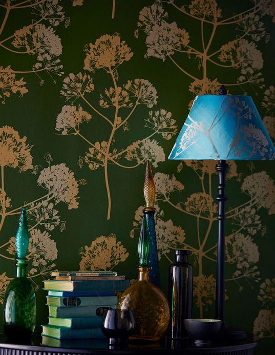 Floral Wallpaper Wallpaper Emorie pearl green Room View