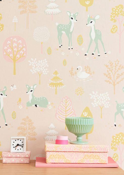 Papel pintado de diseño Papel pintado Golden woods rosa pálido Ver habitación