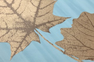 Wallpaper Alissa Shimmering pattern Matt base surface Leaves Pastel turquoise Pearl gold Sepia brown