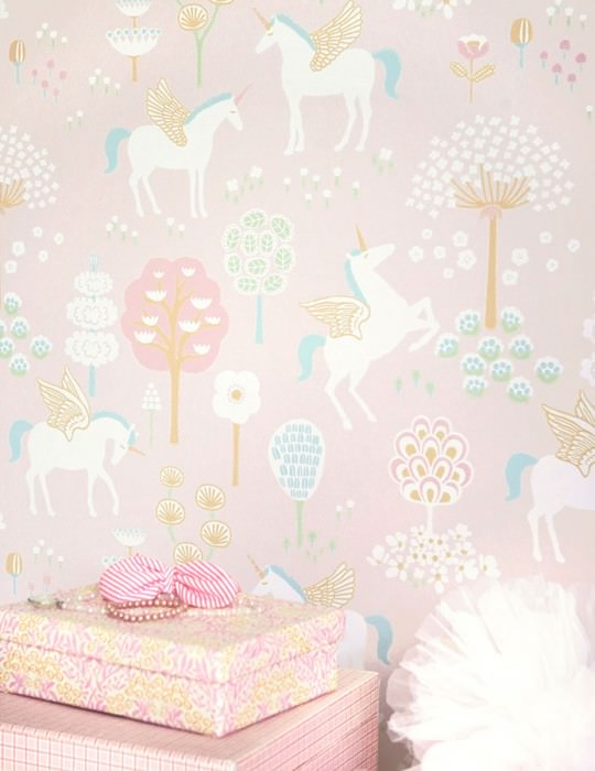 Wallpaper True Unicorns Hand printed look Matt Trees Flowers Unicorns Pale pink Cream Yellow green Mint turquoise Ochre Rosewood