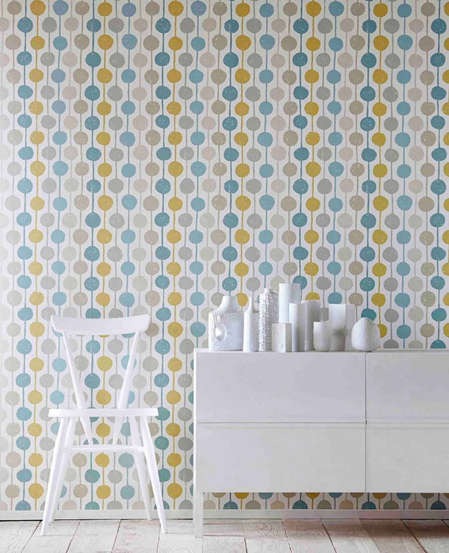 Wallpaper almeda cream beige mint turquoise ochre for Chambre 70 s