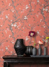 Papel pintado Malabar Mate Ramas con hojas y flores Rojo salmón Crema Marrón grisáceo Gris claro  Rosa