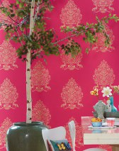 Wallpaper Sisan Shimmering pattern Matt base surface Floral damask Horses Raspberry red Pearl gold