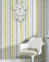 Wallpaper Satis Hand printed look Matt Graphic elements Cream Grey Light yellow green Pebble grey Stone grey