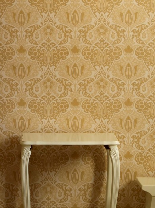 Wallpaper Lamine Hand printed look Matt Art nouveau damask Sand yellow Brown beige Cream Cream