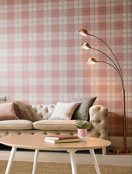 Wallpaper Nelio Shimmering pattern Matt base surface Plaid White rose Pale lavender Pearl beige Rosewood shimmer