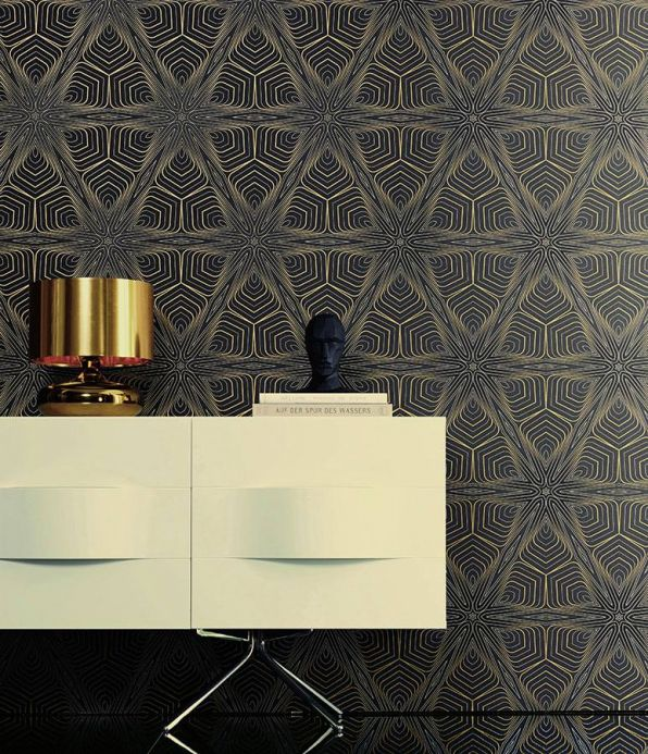 Archiv Wallpaper Silenus anthracite Room View