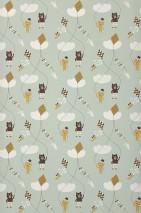 Papel de parede Kite Mate Ursos Gatos Papagaios de vento Nuvens Verde pastel Branco creme Amarelo ocre Marrom chocolate