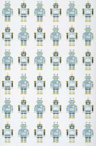 Wallpaper Robots Matt Robots White Light blue Honey yellow Olive green