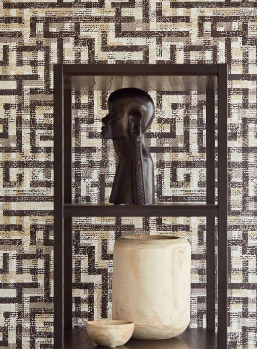 Oriental Wallpaper Wallpaper Masai black grey Room View