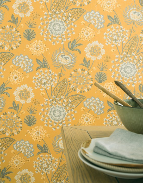 Wallpaper Grisella Matt Stylised flowers Gorze yellow  Cream shimmer Grey Slate grey