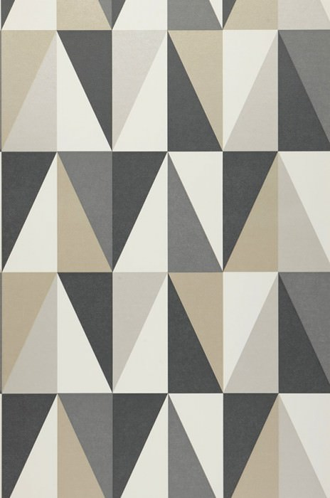 Wallpaper Lenus Matt Geometrical elements Anthracite grey Basalt grey Cream Yellow grey Stone grey