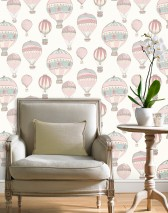 Wallpaper Zefanas Matt Hot-air balloons Cream Pastel turquoise Pastel violet Pearl gold Rose