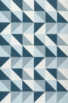 Wallpaper Remix Matt Geometrical shapes Light blue Petrol White