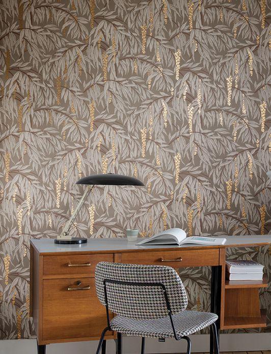 Papel pintado clásico Papel pintado Maringa gris piedra Ver habitación