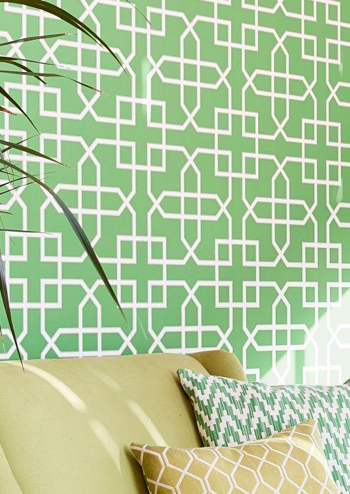 Papel pintado oriental Papel pintado Ferro verde hierba Ver habitación