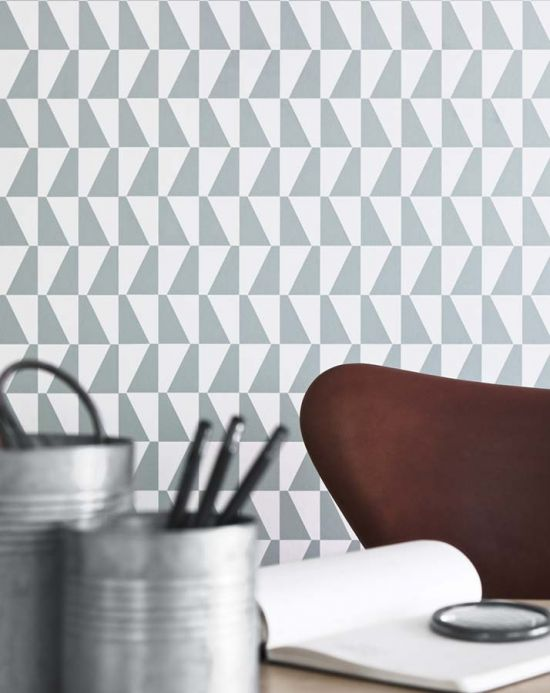 Geometric Wallpaper Wallpaper Balder mint grey Room View