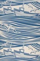 Wallpaper Ulysses Matt Boats Sea gulls Waves Grey white Azure blue