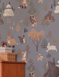 Papel de parede Deep Forest cinza azulado