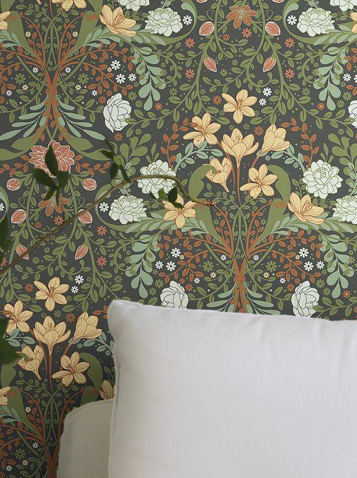 Floral Wallpaper Wallpaper Kristina olive green Room View