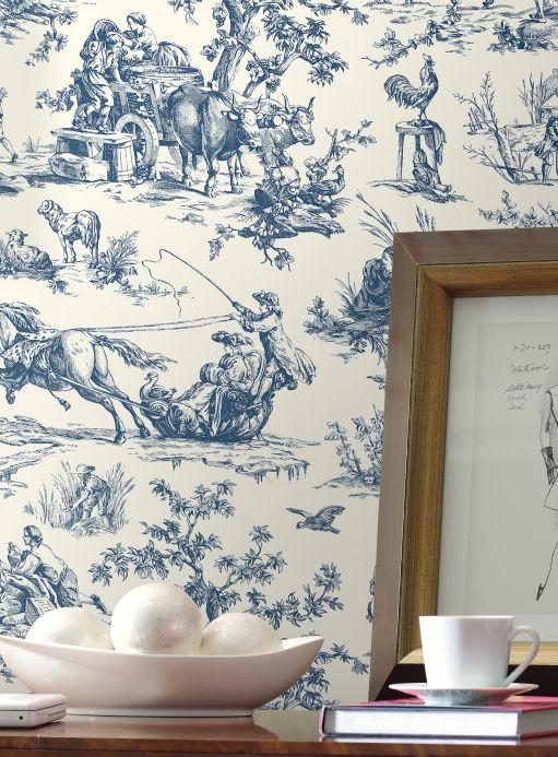 Klassische Tapeten Tapete Toile de Jouy Blau Raumansicht