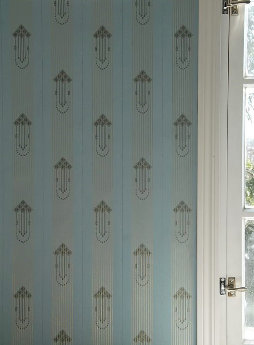 Wallpaper Valter Matt Graphic elements Art nouveau Stripes Light blue Anthracite grey Pearl gold
