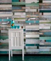 Carta da parati Scrapwood 12 Opaco Shabby chic Simil legno Verde pallido Grigio Blu chiaro Giallo sabbia