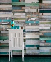 Wallpaper Scrapwood 12 Matt Shabby chic Imitation wood Pale green Grey Light blue Sand yellow