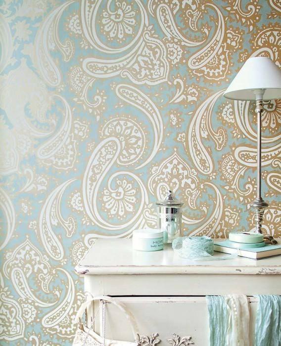 Papel pintado sampati azul claro blanco crema oro - Papeles de los 70 ...
