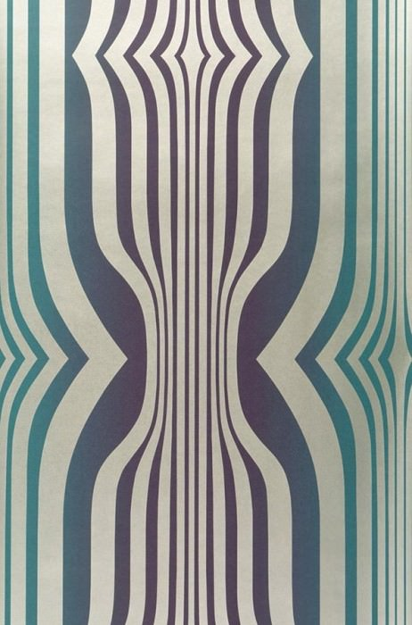 Wallpaper Mandulis Shimmering pattern Matt base surface Retro elements Turquoise blue Violet blue Gold