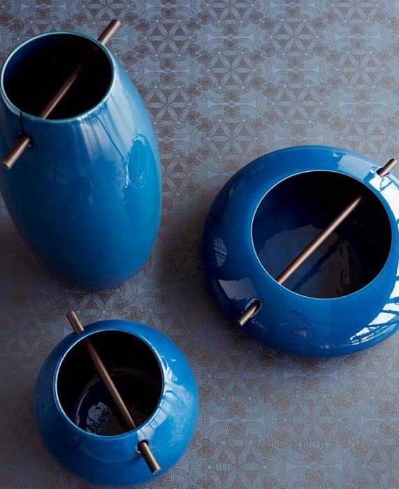 Papel pintado Imalas Patrón brillante Superficie base mate Círculos Elementos modernos Azul pichón Antracita