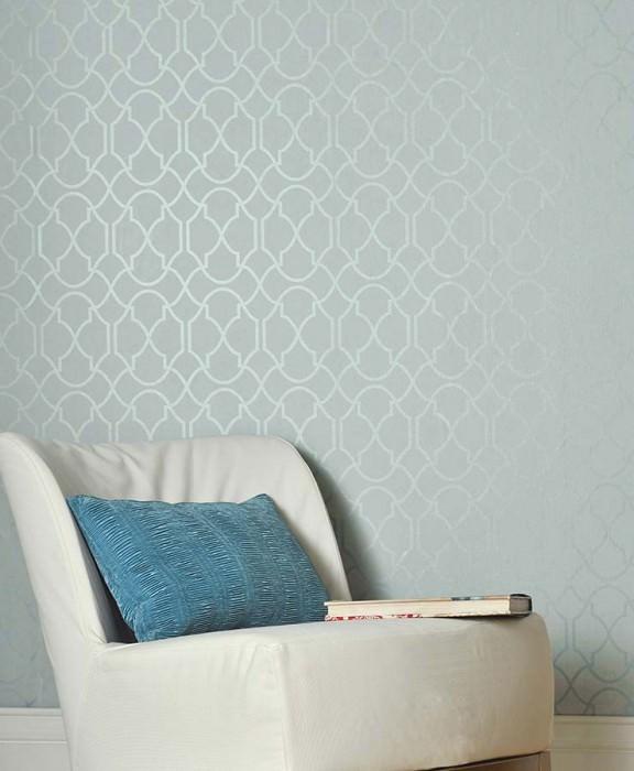Wallpaper Telenzo Shimmering pattern Matt base surface Modern damask Light blue Grey blue lustre