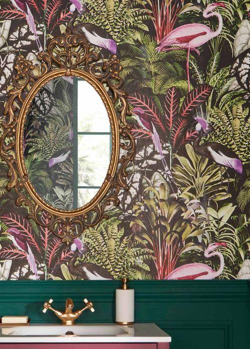 Papel pintado moderno Papel pintado Caribbean Garden verde Ver habitación