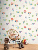 Wallpaper Kantania Matt Trees Owls Words Cream Blue Heather violet Green Red orange