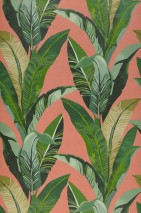 Wallpaper Lasita Matt Leaves Beige red Shades of green