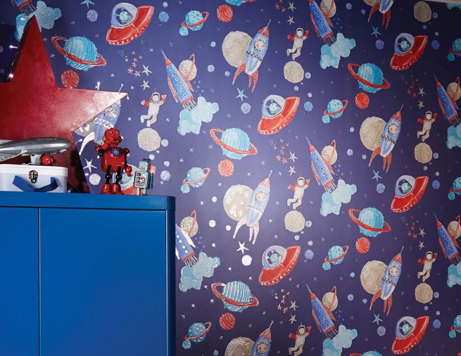 Papier peint Luitpoldo Motif chatoyant Surface mate Astronautes Planètes Fusées Étoiles OVNI Bleu foncé Beige gris Rouge Bleu turquoise