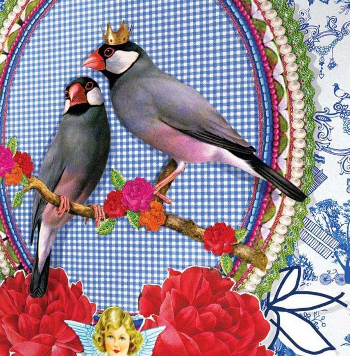 Wallpaper Tirawa Matt Trees Flowers Houses Birds White Blue Grey Light green Red