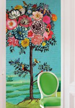 Wallpaper Manito Matt Tree Blossoms Birds Words Pastel turquoise Blue Cream Yellow Green Rose
